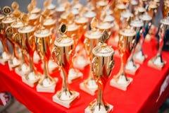 Złocisty filiżanek nagradzać zwycięzcy Obraz Stock