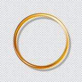 Złocisty glansowany pierścionek odizolowywający na przejrzystym tle ilustracja wektor