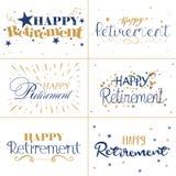 Złocisty i błękitny typografia projekt Szczęśliwy emerytura tekst ilustracja wektor