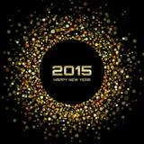 Złocisty Jaskrawy nowego roku 2015 tło Fotografia Stock