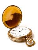 Złocisty kieszeniowy zegarek odizolowywający na bielu zdjęcia royalty free