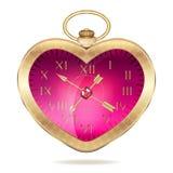 Złocisty kieszeniowy zegarek w postaci serca Zdjęcia Stock