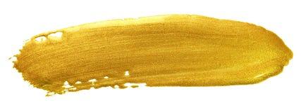 Złocisty kolor farby muśnięcia uderzenie Akrylowa złota rozmaz plama na białym tle Abstrakcjonistyczny szczegółowy złocisty połys Zdjęcie Royalty Free