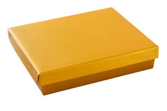 Złocisty koloru pudełko z ścinek ścieżką Fotografia Stock