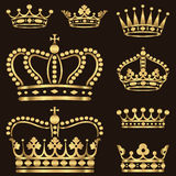 Złocisty korona set ilustracji
