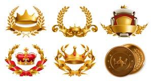 Złocisty korony i bobka wianek kuli ziemskiej loga wektoru sieć royalty ilustracja