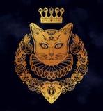 Złocisty kot sylwetki portret ilustracji