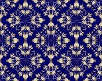 Złocisty kwiecisty Adamaszkowy wektorowy bezszwowy wzór Rocznika ornamentacyjny d ilustracji