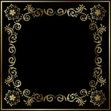 Złocisty kwiecisty styl obramiający tło Obraz Royalty Free