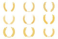 Złocisty laurowy wianek - symbol zwycięzca Pszeniczni ucho lub ryżowe ikony ustawiający royalty ilustracja