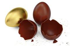Złocisty luksusowy jajka i czekolady Easter jajko Łamany, krakingowy czekoladowy jajko, Słodcy czekoladowi jajka, wakacje i Easte ilustracja wektor