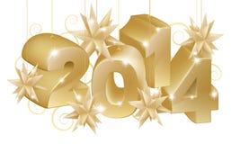 Złocisty nowy rok lub boże narodzenia 2014 dekoraci Fotografia Royalty Free