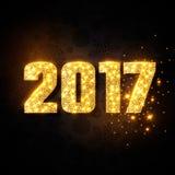 Złocisty numeryk 2017 Boże Narodzenia, nowego roku pojęcie Fotografia Stock