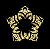 Złocisty ornament odizolowywający na czarnym tle ilustracji
