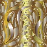 Złocisty Paisley bezszwowy wzór tła złoty kwiecisty luz ilustracja wektor