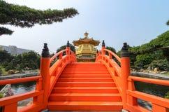 Złocisty pawilon absolutna doskonałość w Nan Liana ogródzie, Chi Lin Nunnery, Hong Kong Zdjęcie Royalty Free