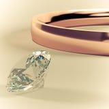 Złocisty pierścionek i diamentowy retro rocznika styl Obrazy Royalty Free
