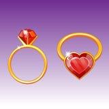 Złocisty pierścionek z ilustracja wektor