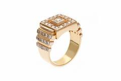 Złocisty pierścionek z diamentami Obrazy Stock