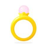 Złocisty pierścionek z perłą
