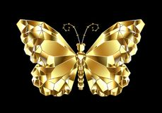 Złocisty poligonalny motyl na czarnym tle ilustracji