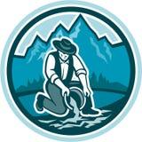 Złocisty Prospector górnika Panning okrąg Retro ilustracji