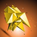 Złocisty przestrzenny technologiczny kształt, poligonalny wireframe Obraz Royalty Free
