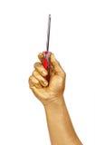 złocisty ręki mężczyzna s śrubokręt zdjęcie stock