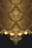 Złocisty rocznika tło z eleganckim wzorem i faborkiem royalty ilustracja