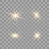 Złocisty rozjarzony światło set ilustracja wektor