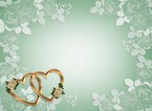 złocisty serc zaproszenia ślub Zdjęcia Royalty Free