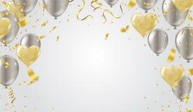 Złocisty serce balonu i balonów valentines dnia srebny tło ilustracji