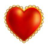 Złocisty serce dla walentynki ` s ślubów lub dnia Fotografia Stock
