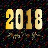 Złocisty szczęśliwy nowy rok 2018 na confetti Obraz Royalty Free