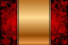 Złocisty tło z czerwonymi sercami ilustracja wektor