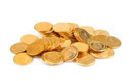 Złocisty Tajlandzki baht, pieniądze, Tajlandzka moneta, pieniądze tajlandzkie monety kąpać się schodek Obrazy Stock