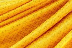 Złocisty tkanina jedwab dla tła Zdjęcia Stock