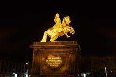 Złocisty zabytek Frederick Augustus II Zdjęcie Stock