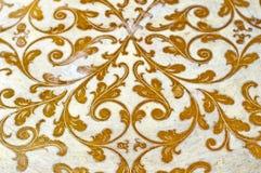 Złocisty zawijasa projekta ornament Dekoracyjny biały tło Obraz Royalty Free