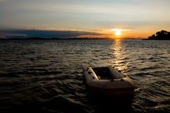 Złocisty zmierzch nad morzem w Chorwacja obrazy royalty free