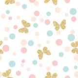 Złocistych błyskotliwych motyli bezszwowy wzór na pastelowych kolorów confetti kropek round tle Zdjęcia Royalty Free