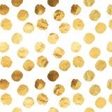 Złocistych Faux folii Kruszcowych kropek tła Biały wzór Obraz Stock
