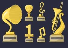 Złocistych gwiazdy rocka trofeum muzycznych notatek rozrywki wygrany osiągnięcia najlepszy clef i rozsądny błyszczący złoty żółty ilustracja wektor