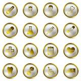 złocistych ikon medyczny set ilustracji