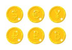 Złocistych monet różna waluta Zdjęcie Royalty Free