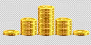 Złocistych monet stosów pieniądze banka monety złoci rozsypiska na wektorowym przejrzystym tle Obraz Stock