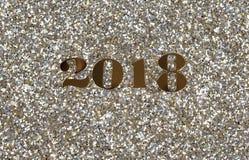 2018 złocistych nowy rok liczb na jaskrawym błyskotliwości tle Zdjęcia Royalty Free