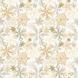 Złocistych płatek śniegu Luksusowy Bezszwowy wzór, Wektorowy tło obrazy stock