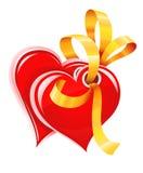 złocistych serc odosobniony czerwony faborek dwa Zdjęcie Stock