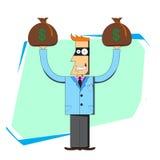 Złodzieja biznesmen z torbami pieniądze Ilustracji